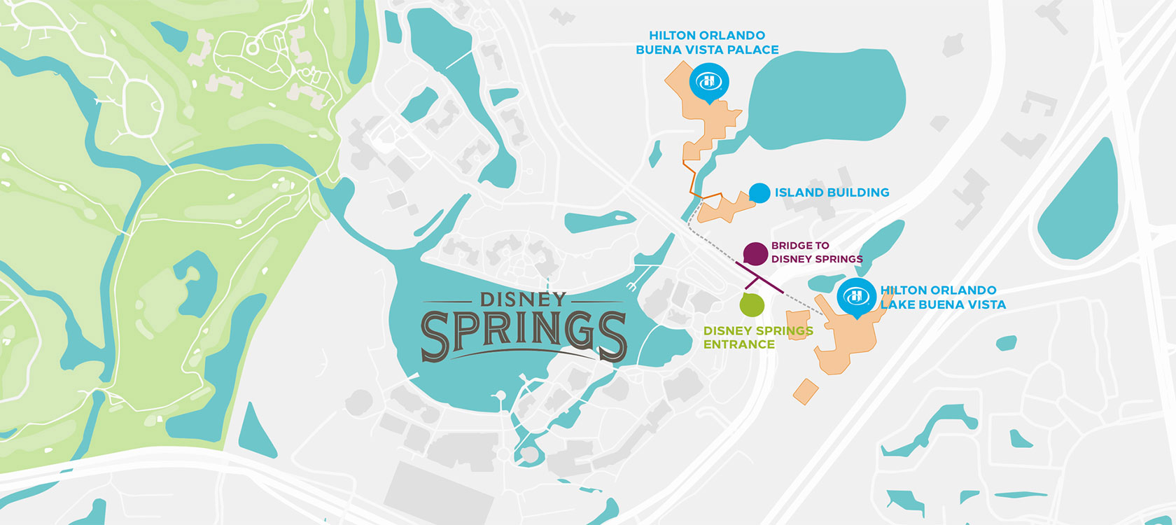 Map of the Disney Springs® area.